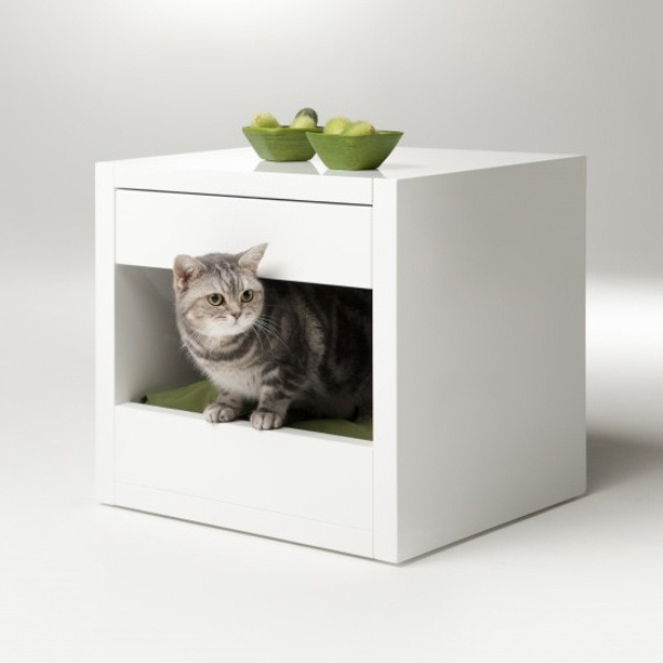 Minimalist Cat Shelter With Colorful Cushions That Doubles As A Nightstand