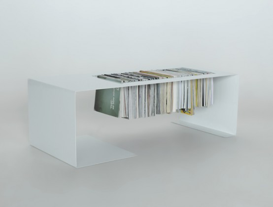 Minimalist Coffee Table With A Built-In Magazine Rack