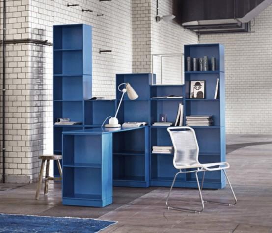 Lưu trữ đầy màu sắc nội thất tối giản Đối với phòng khách và văn phòng