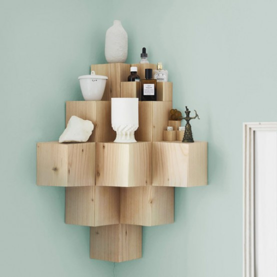 Minimalist Cubic Shelf Of Douglas Fir