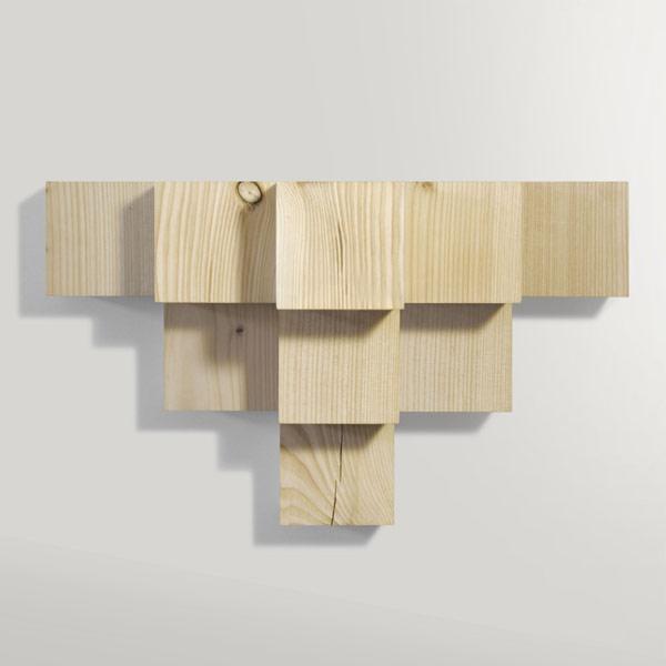 Minimalist Cubic Shelf Of Douglas Fir