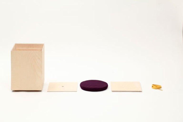 Minimalist Functional Stool Made Of Box And Cushion