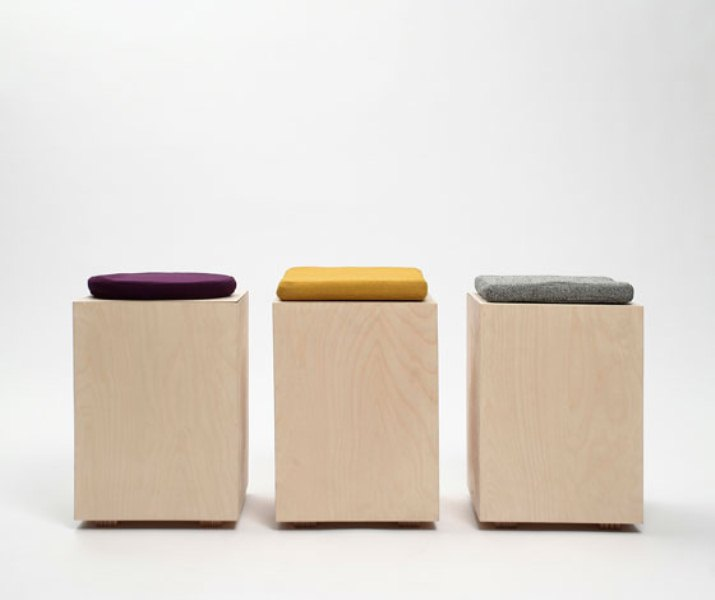 Minimalist Functional Stool Made Of Box And Cushion