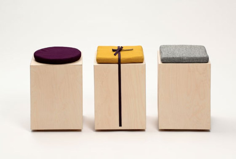 Minimalist Functional Stool Made Of A Box And A Cushion