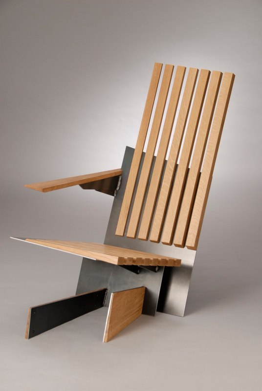 Minimalist and unusual furniture of various types of wood for Metal design chair
