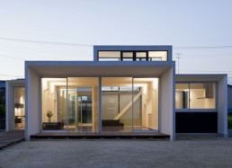 Minimalist House Design That Consist Of Small Rectangular Blocks