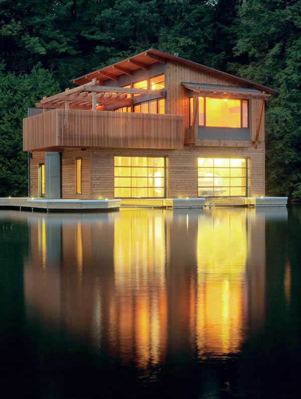 Renovated Modern Boathouse Of Natural Wood