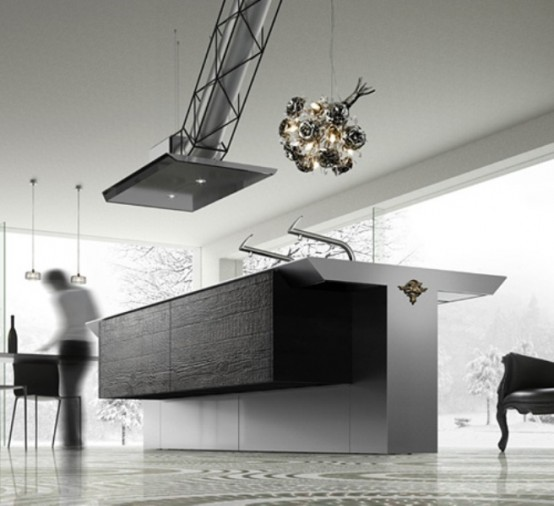 Minimalist Kitchen In Dark Grey