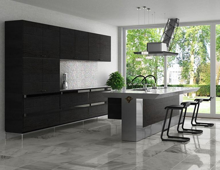 Cool minimalist kitchen in dark grey from toyo digsdigs - Minimal kitchen design ...