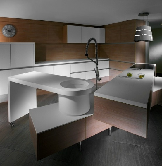 Minimalist Kitchen With Off-Set Counter Tops