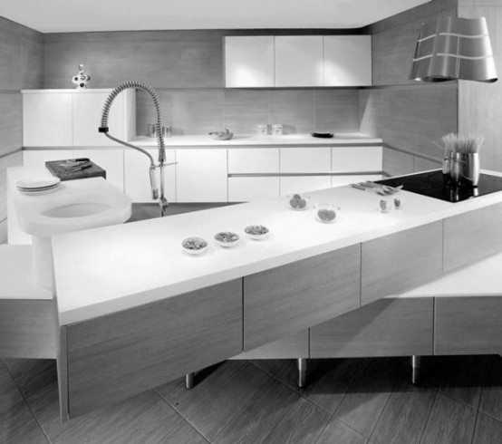 Minimalist Kitchen With Off Set Counter Tops