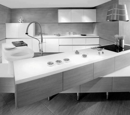Kitchen Set Minimalist: Minimalist Kitchen With Off-Set Counter Tops