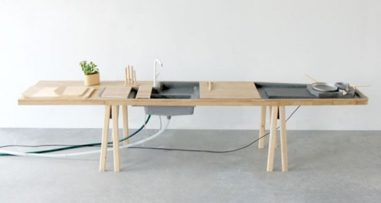 Minimalist Kitchen Workstation With Everything Necessary Built In
