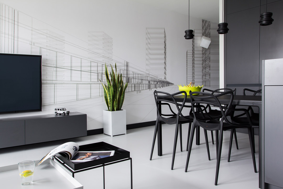 Minimalist masculine apartment design with neon details for Deco minimaliste design