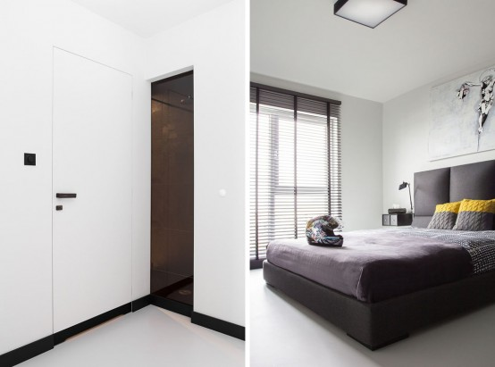Minimalist Masculine Apartment With Neon Details And Geometric Decor