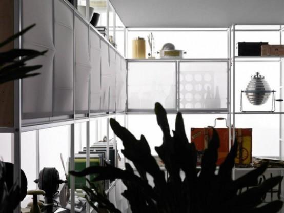 Minimalist Meccanica Kitchen With Fabric Doors