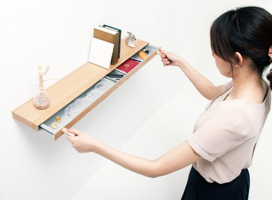 Minimalist Shelf With A Small Hidden Drawer