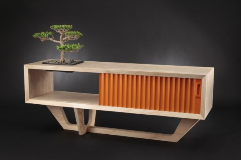 Minimalist Sideboards Of Natural Woods And Bright Colors