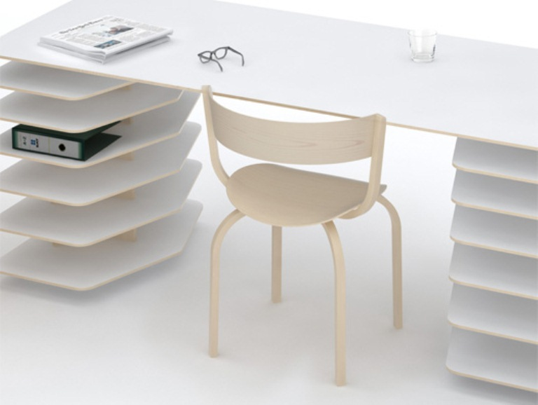 Minimalist Table And Shelves To Organize A Perfect Work Space – Strata by Mathieu Lehanneur