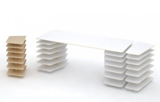 Minimalist Table And Shelves For Work Spaces