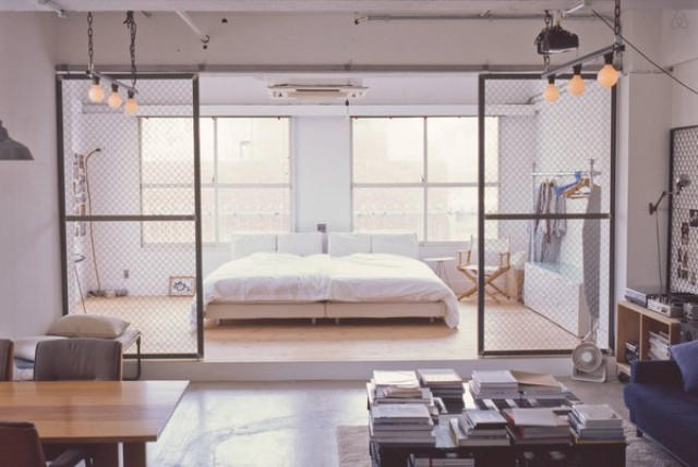Minimalist tokyo loft with industrial touches digsdigs for Bedroom door ideas loft apartment