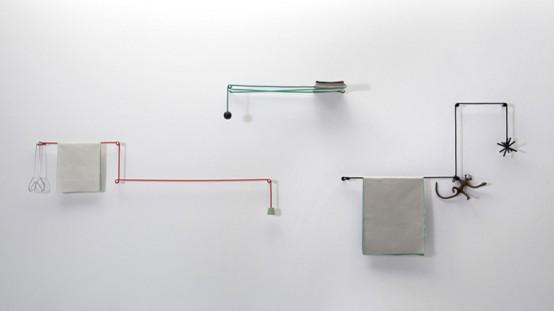 Beau Minimalist Towel Rail Of Ropes And Sticks
