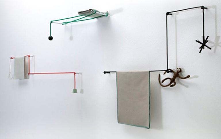 Minimalist Towel Rail Of Ropes And Sticks