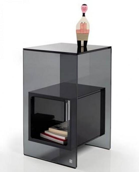 Minimalist Transparent Glass Side Table