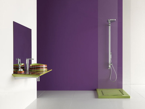 Minimalist Violet Bathroom