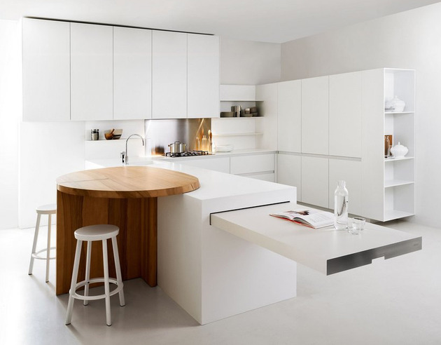 thoughtful minimalist white kitchen for small spaces digsdigs. Black Bedroom Furniture Sets. Home Design Ideas