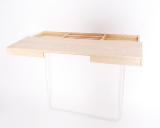 Minimalist Work Desk With A Storage Space Inside