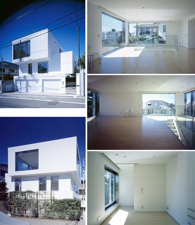 Modern white minimalistic house design in todoroki digsdigs for Minimalist white house