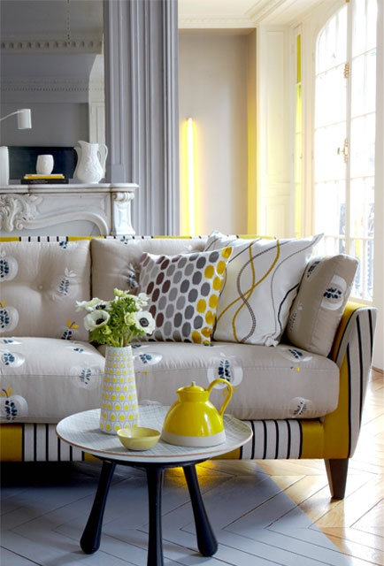 Bright Colored Floral Couch