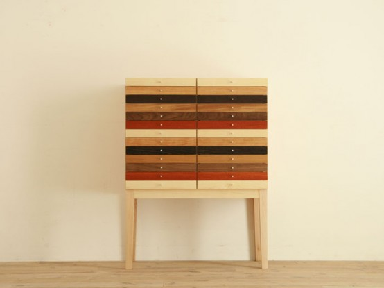 Mixed Wood Chest of Drawers