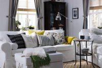Modern Ektorp sofa in white with an ottoman