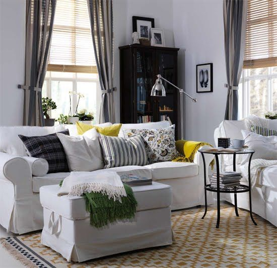 Modern Ektorp Sofa In White With An Ottoman