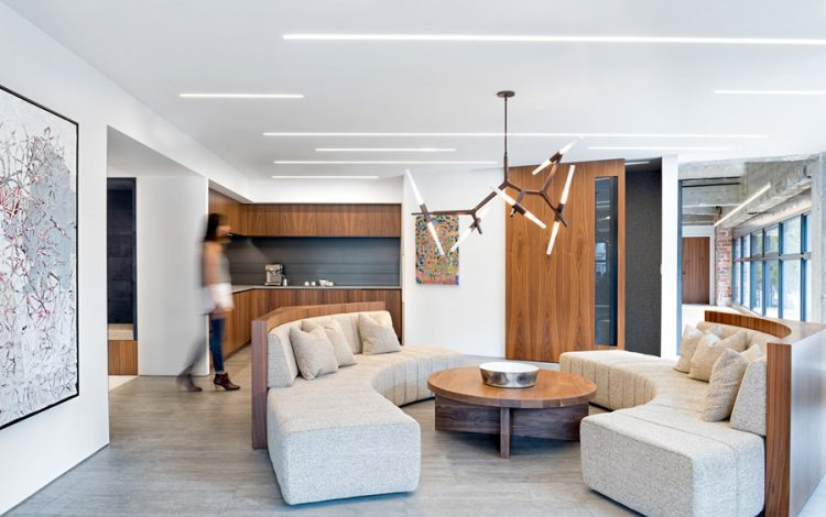 The living room zone is decorated in a modern and office-reminding way