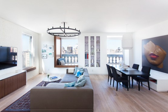 Modern And Refined New York Apartment With Blue Accents - DigsDigs