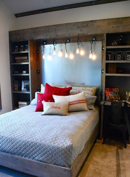 Exceptional Teenager Boy Bedroom Designs Part - 11: Rustic Wood Cabients And Hanging Edison Bulbs Would Add This Awesome  Industrial Touch To Bedroomu0027s Decor