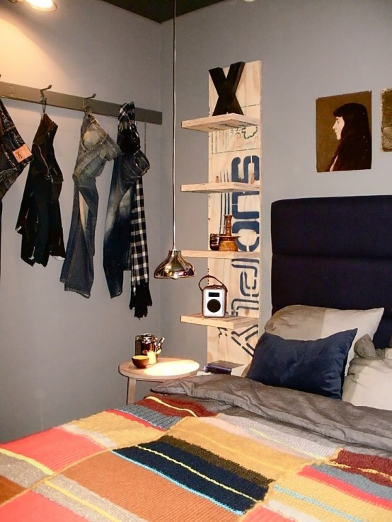 Guys don't like closets so a coat rack is the best solution to help them organize their cloth.