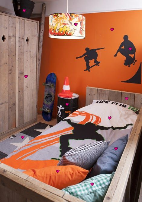 Hit a wall with a bold color and add some decals on it. Teens aren't like adults, they appreciate vibrant colors.