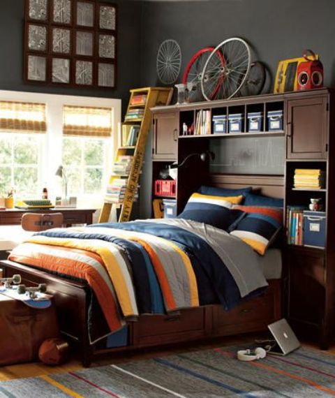 Headboards could be used not only for additional storage but to display  things too. 55 Modern And Stylish Teen Boys  Room Designs   DigsDigs