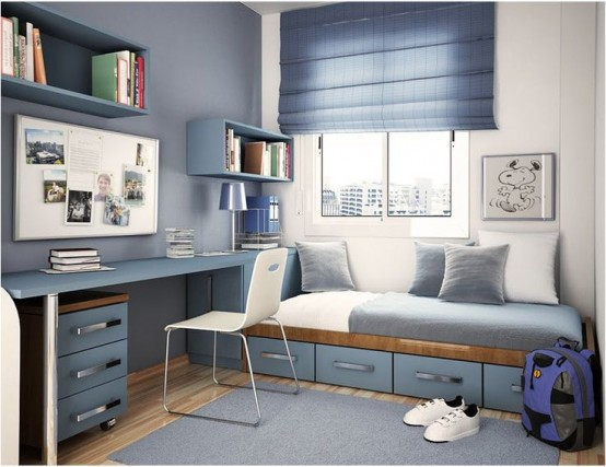 Storage organizing is quite important for a teen's room so think it through carefully. A desk with a drawer cabinet, some open shelves, a wardrobe and some drawers under the bed are all really important.