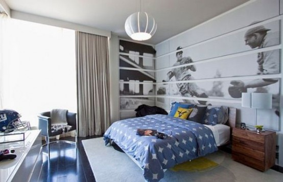 Here is an awesome space saving idea for you. Add a headboard decal on the wall instead of a traditional one.
