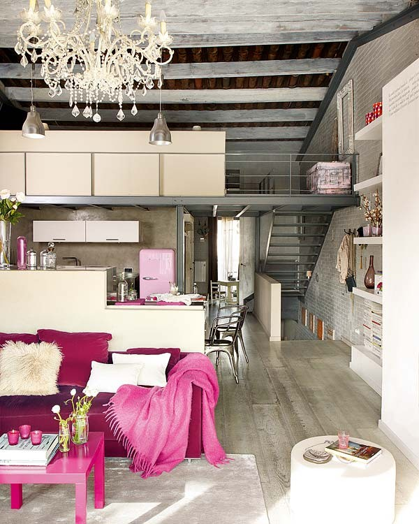 Modern and vintage interior design in shades of pink Retro home decor