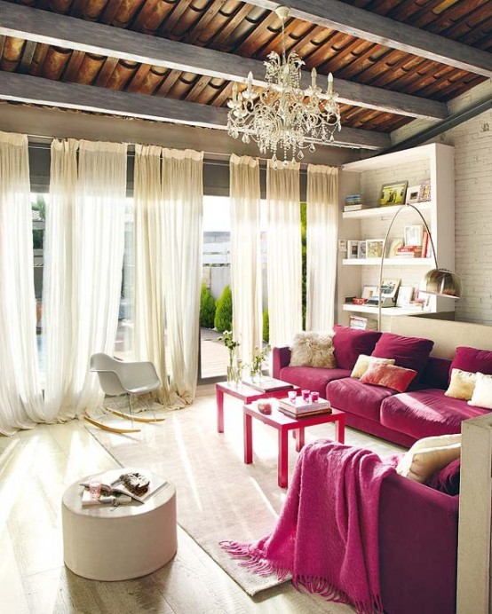 Modern And Vintage Interior In Shades Of Pink