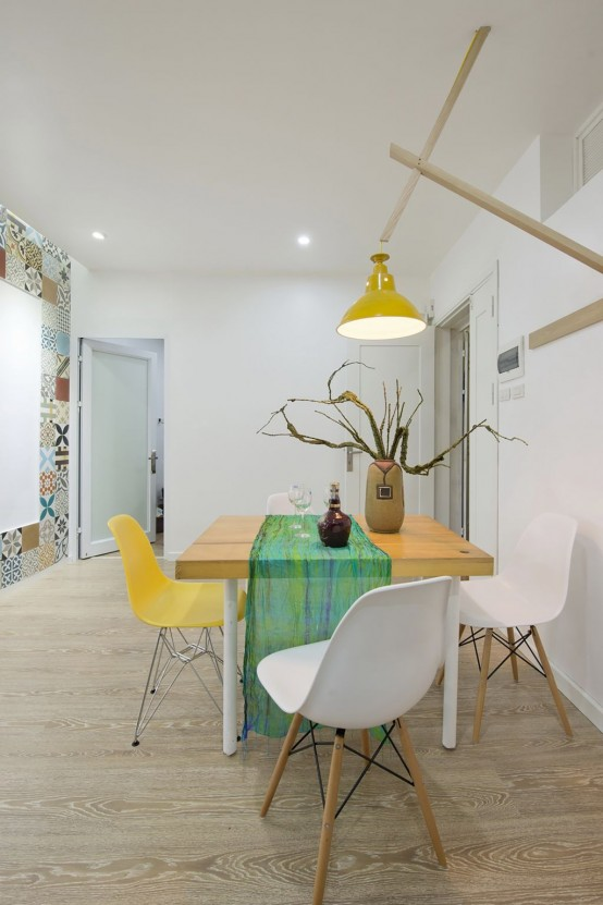 Modern Apartment Design With Colorful Wall Tiles And Accents