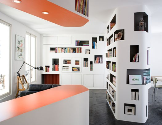 Modern 60 Square Meter Apartment With Amazing Book Storage Organization