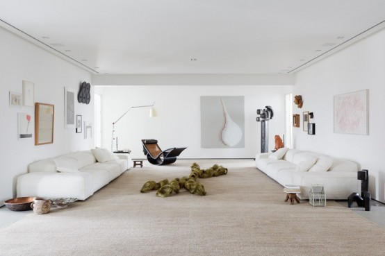Modern Art Collector's Family Home In White And Neutrals