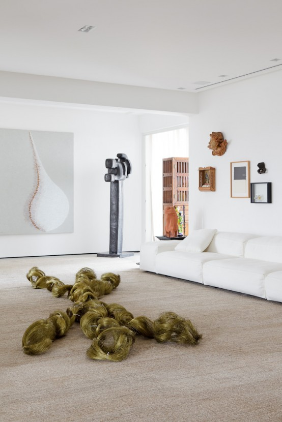Modern Art Collectors Family Home In White And Neutrals